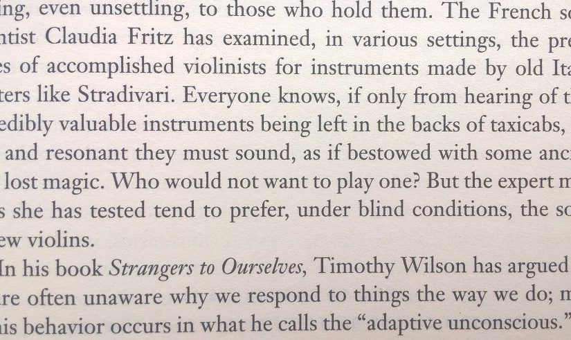 On the importance of setting (Stradivarius but only if know it's a Stradivarius)