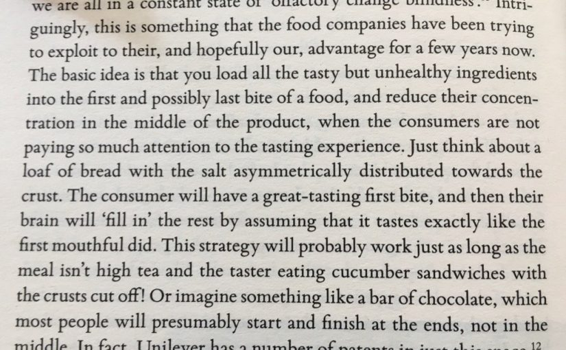 💎 On strongest memory of taste tending to be the first bite (olfactory change blindness)