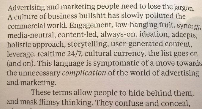 On how advertising jargon is used to hide flimsy thinking (synergy, media-neutral, content-led...)