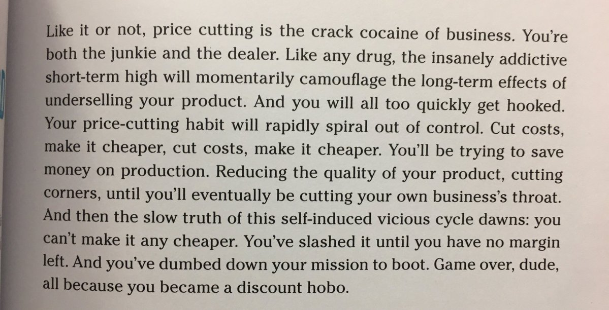 💎 On price cutting being the crack cocaine of business (you will all too quickly get hooked)