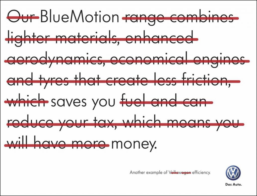 Smart fuel efficiency ad from VW