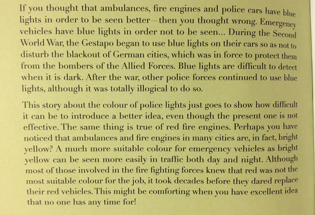 💎 On the remarkable persistence of ideas that are no longer appropriate (fire engines and police cars)