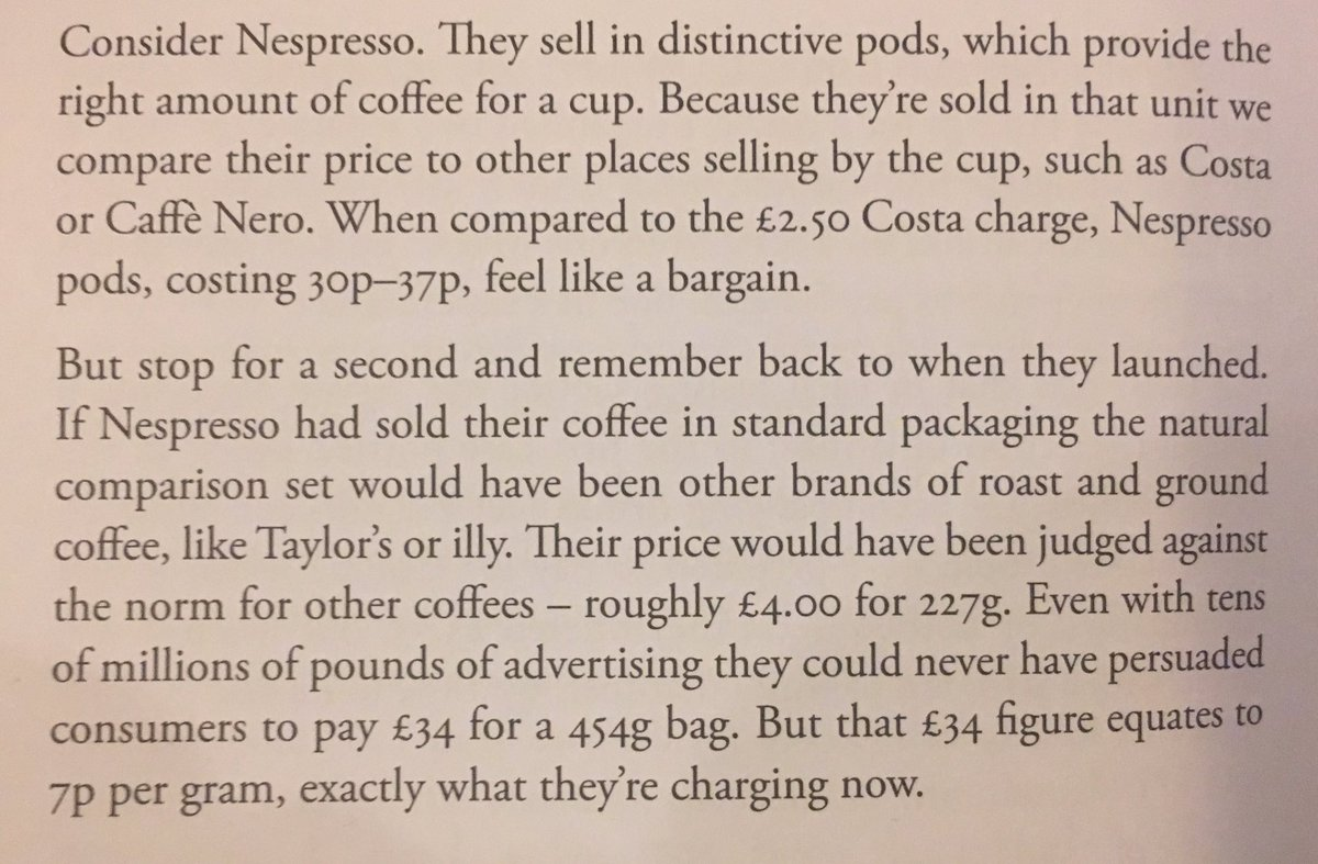 Consider Nespresso. They sell in distinctive pods, which provide the right amount of coffee for a cup.