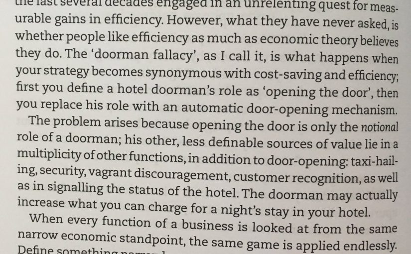 💎 On the dangers of relentlessly seeking cost-savings and efficiency (the doorman fallacy)