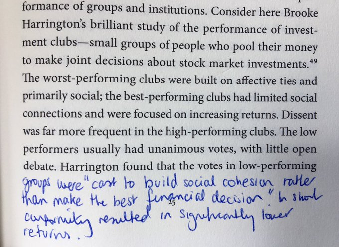 On how social cohesion among groups leads to conformity and reduced performance