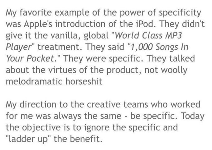 💎 On the power of being specific in ads (Apple and the iPod)