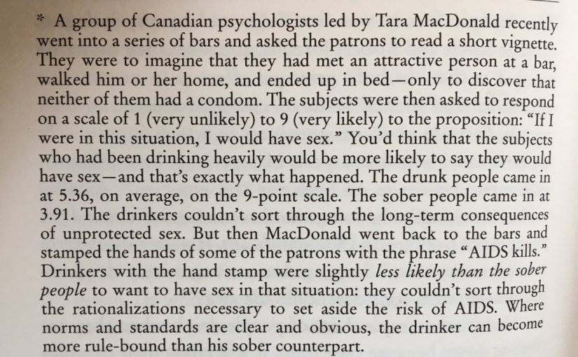 On how messages while drunk can have disproportionate effect