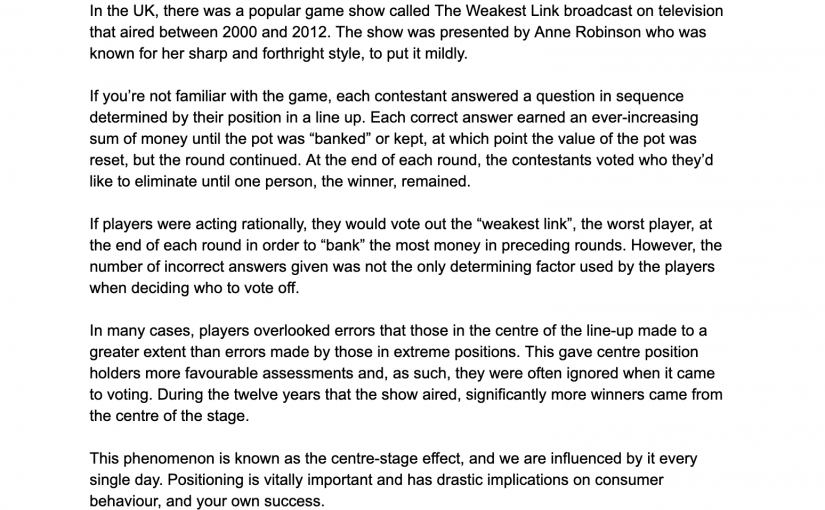 💎 On the power of the centre (even when you're a gameshow contestant)