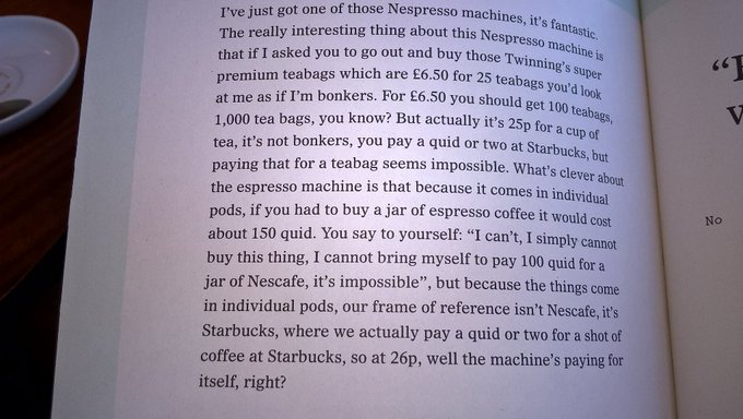 "💎 On how Nespresso increased willingness to pay by changing their comparison set (""the machine's paying for itself"")"