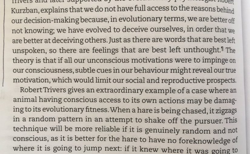 On why we don't have full awareness of the reasons behind our actions (an evolutionary explanation)