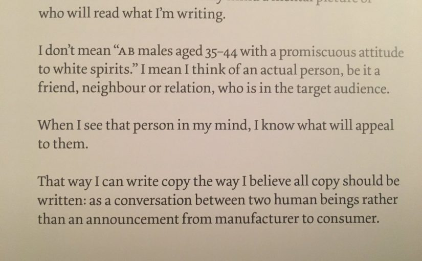 On writing copy for a specific person not a demographic (it should be a conversation between two human beings)