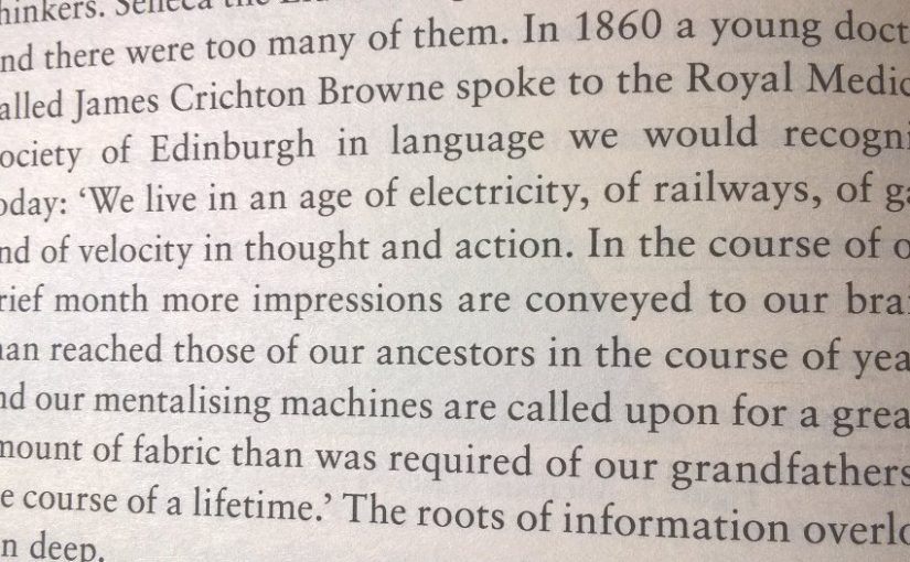 On complaints of information overload having a long history (an example from the 1860's)