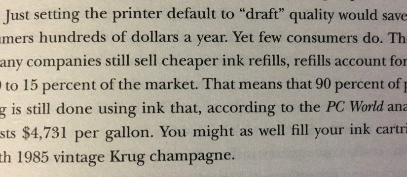 On consumers being price sensitive in some areas but price blind in others (printer ink versus champagne)