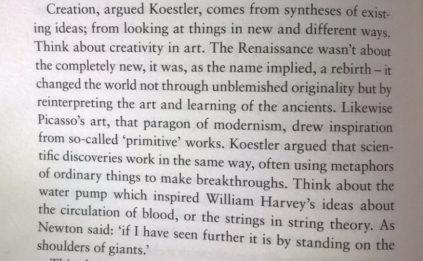 On creativity being more arrangement than originality (look at things in new and different ways)