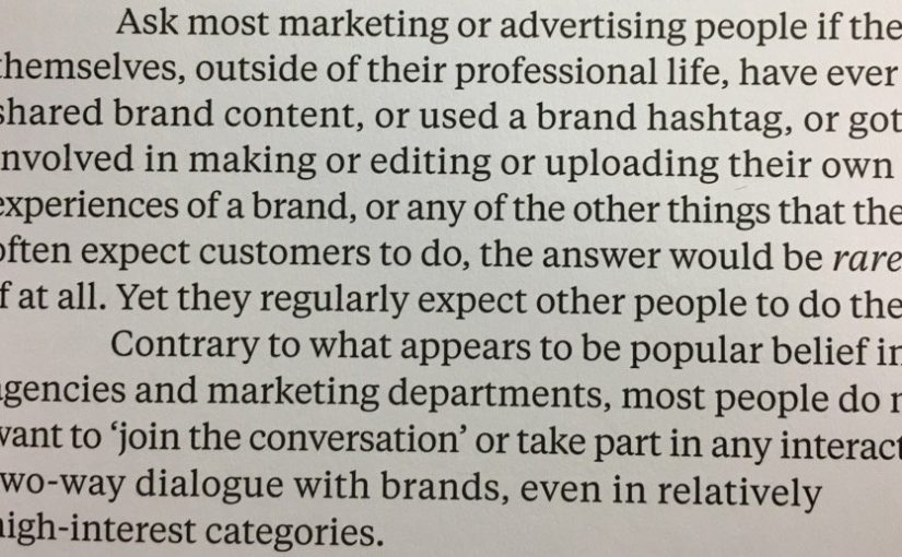 On advertisers not eating their own dog food (most people do not want to 'join the conversation')