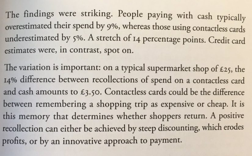 On how contactless payments reduce price sensitivity (beware overspend)