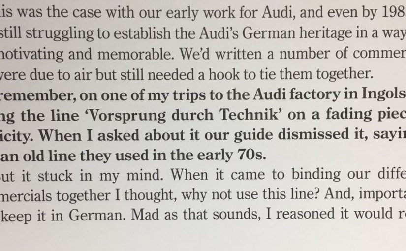 On how research nearly killed the great Audi slogan (confident brand heritage)