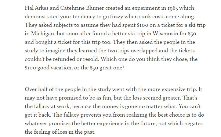 On how the sunk cost fallacy can lead to bad decisions (choosing fear of loss over enjoyment)