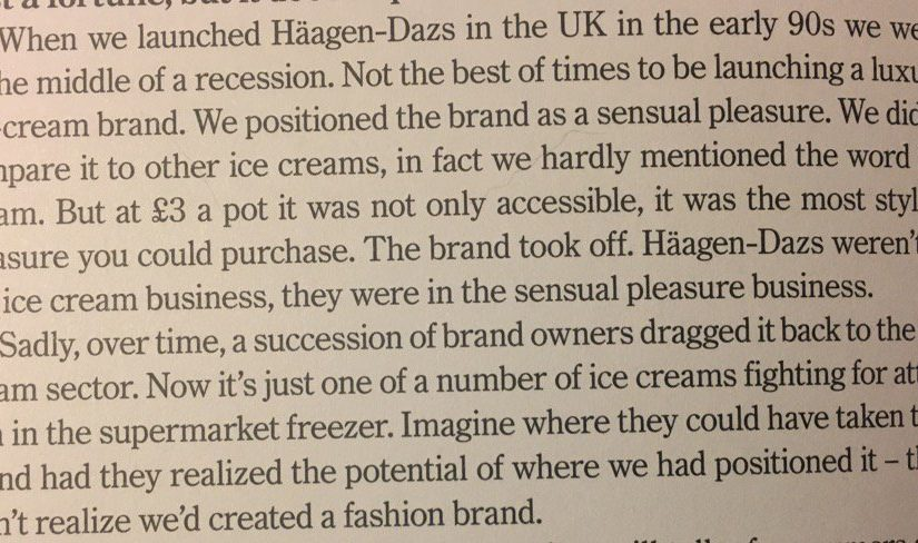 💎 On breaking comparisons with your competition to charge an eye-watering premium (launching Haagen-Dazs)