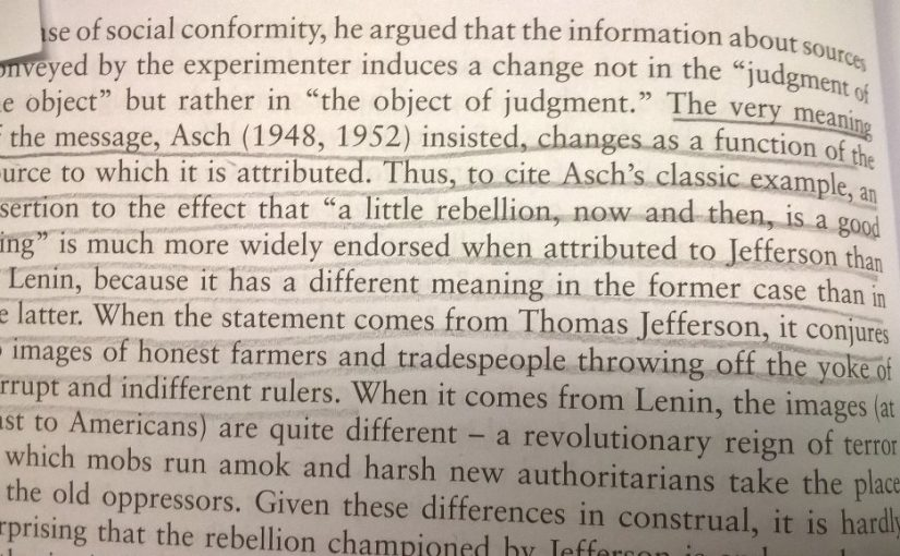 On the meaning of a message changing dependent on the source (reign of terror or honest farmers?)