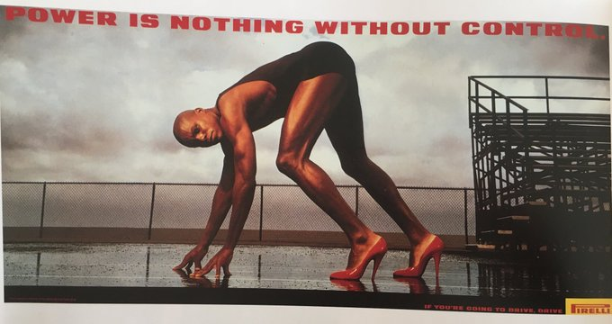 Pirelli poster featuring Carl Lewis- power is nothing without control