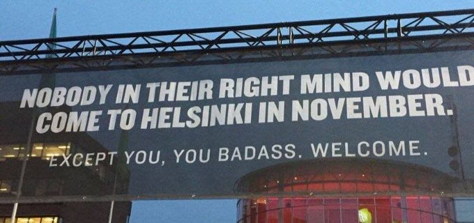 A tourism poster at Helsinki airport that reframes the bad weather
