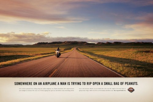 Harley Davidson ad which avoids the cliches of rebellion