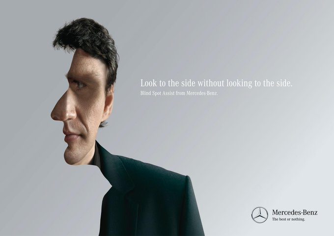 Mercedes turning a visual illusion into an ad
