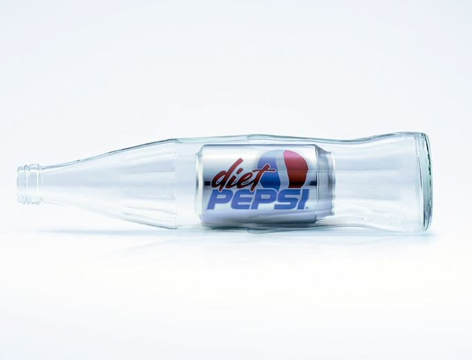Diet Pepsi can fit into a glass bottle