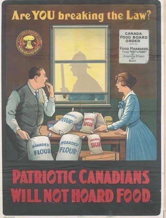 1918 Spanish Flu Posters: Patriots Will Not Hoard Food