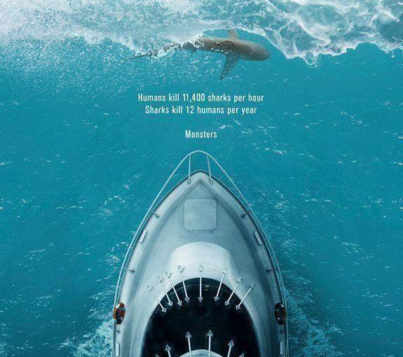 ♦️ WildAid's brilliant twist on the original Jaws movie poster