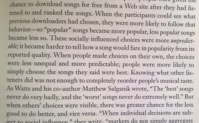 On social proofs influence on music choice (markets do not simply aggregate pre-existing individual preference)