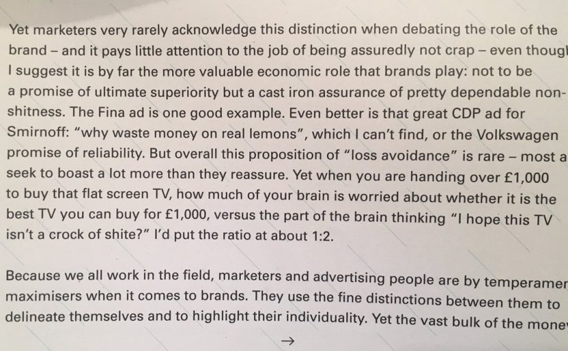 On the avoidance of regret being a much bigger factor in brand selection than the pursuit of perfection (I hope this TV isn't a crock of shite)