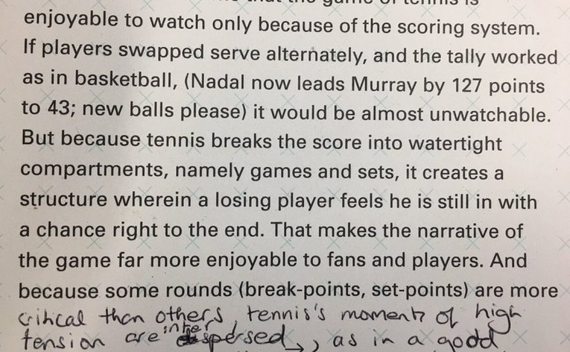 On the importance of scoring systems to the enjoyment of sports (Nadal now leads Murray by 127 points)