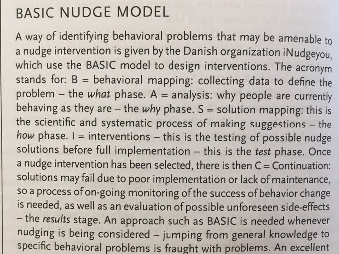 The BASIC model (a simple process for identifying what nudges should be applied to a particular challenge)