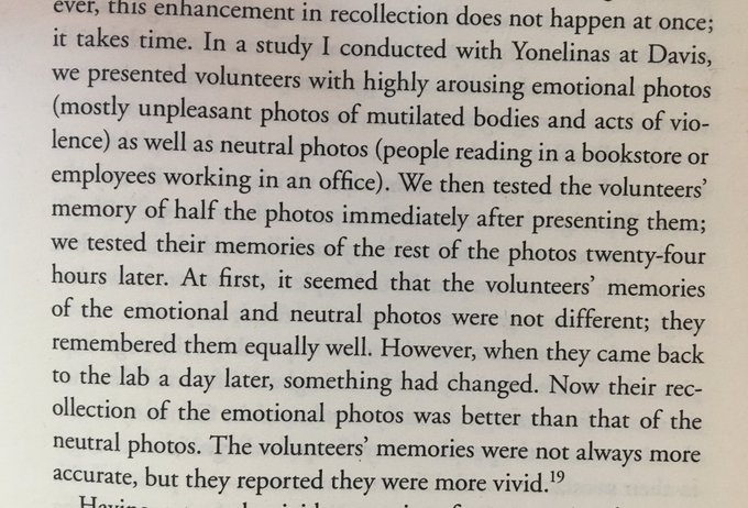 💎 Highly emotive imagery is recalled equally as well as neutral imagery in the immediate term (but far better in the longer term)