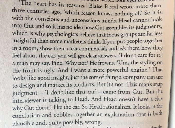 Why psychologists believe that focus groups are far less insightful than some marketers think (Head cannot look into Gut)
