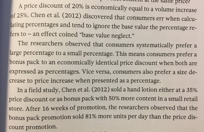 💎 Consumers systematically prefer a large percentage to a small percentage (bonus pack vs. price discount)