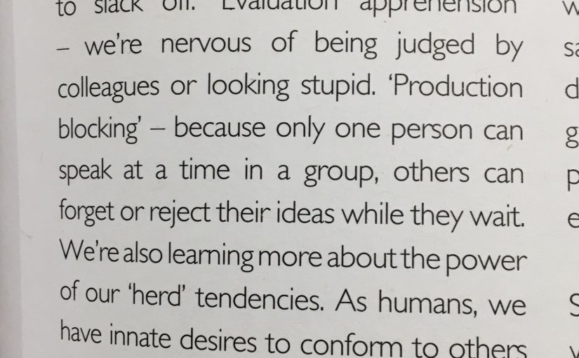 💎 Three ideas from psychology that explain why brainstorms tend to be ineffective (from social loafing to production blocking)
