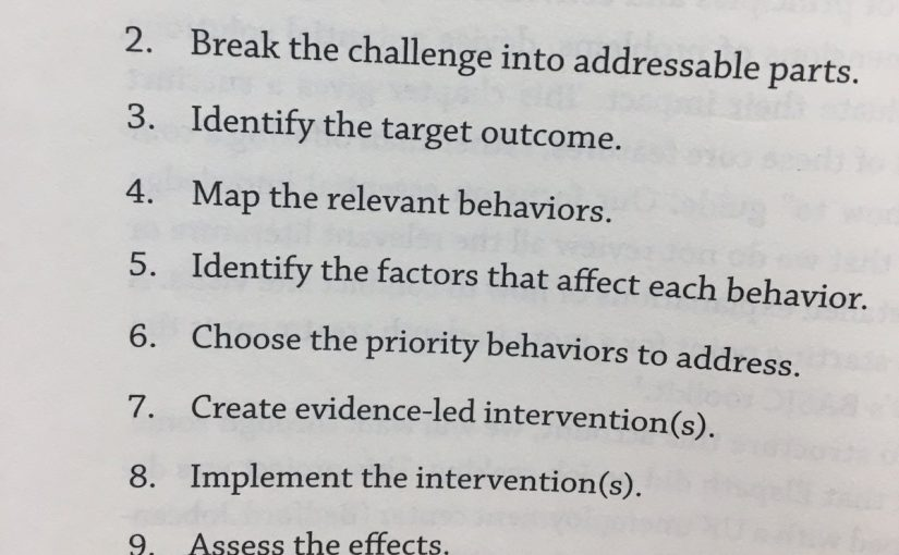 The ten steps for a successful behavioural science intervention