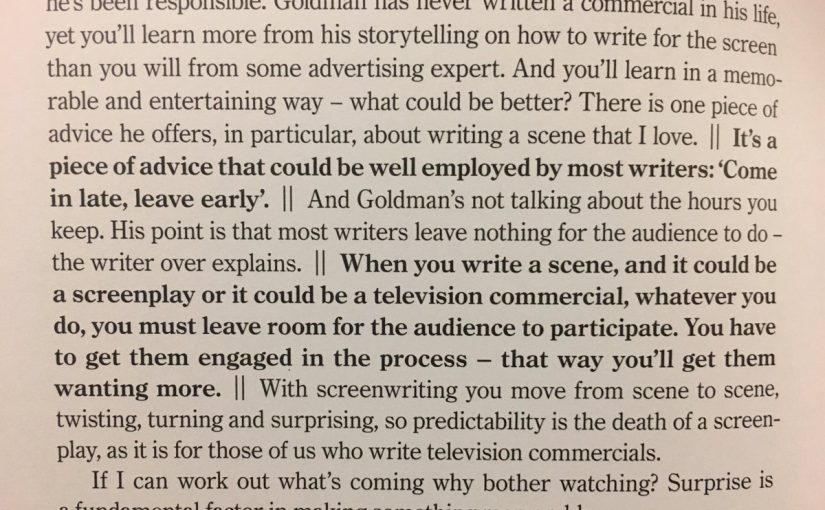 💎 The importance of leaving room for the audience to participate whether it's a screenplay or an ad (arriving late and leaving early)