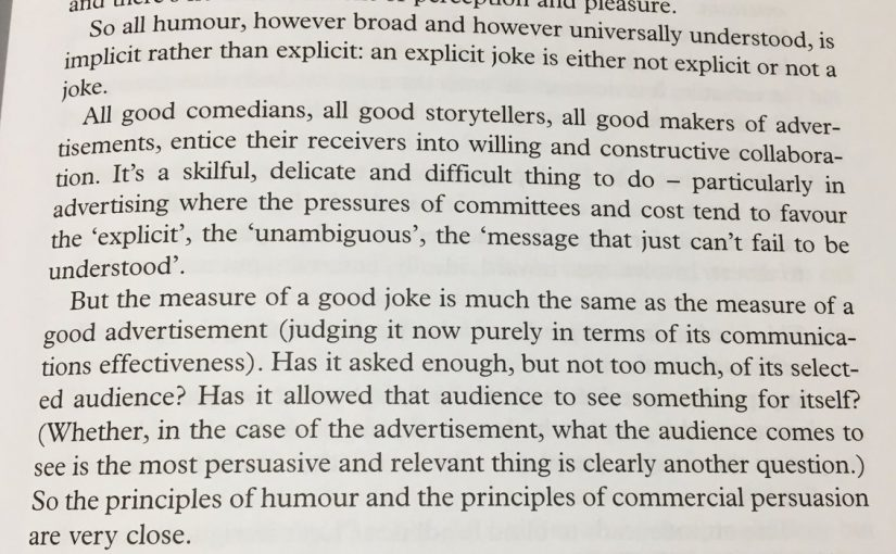 💎 On the similarities between comedy and advertising (in particular on leaving enough space for the audience to be involved in the interpretation)